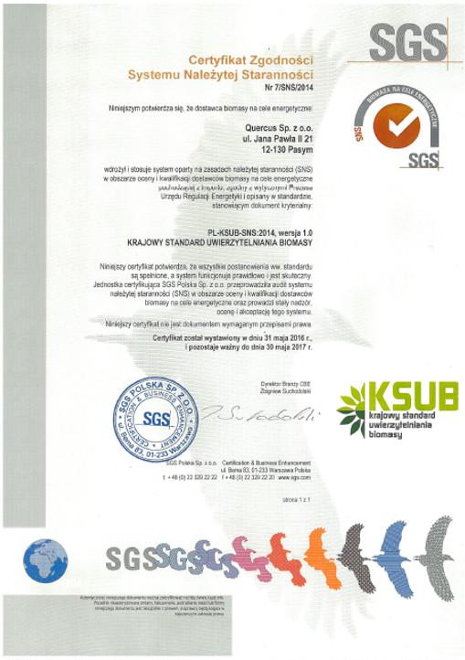 Certyfikat SGS